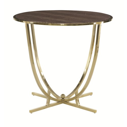 Bernhardt Jet Set Round End Table with Leather Wrapped Top