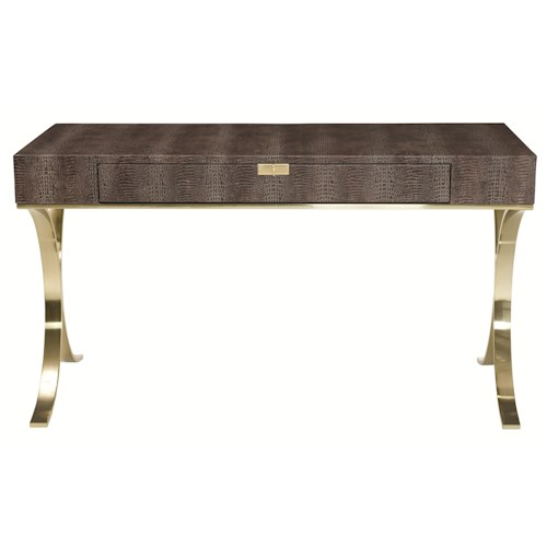 Bernhardt Jet Set Leather-Wrapped Desk with Tubular Steel Base