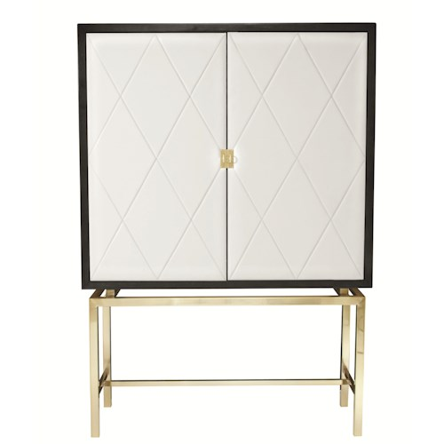 Bernhardt Jet Set Bar Cabinet with Quilted Leather Panels