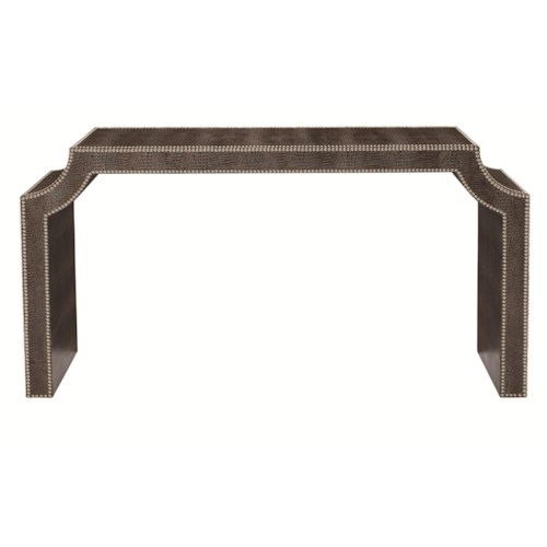 Bernhardt Jet Set Leather-Wrapped Console Table with Nailhead Trim
