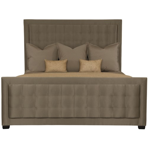 Bernhardt Jet Set King Upholstered Panel Bed with Tufted Center Panel