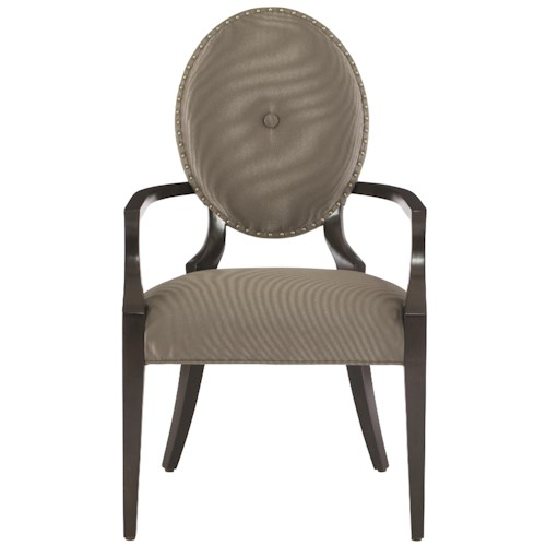 Bernhardt Jet Set <b> Customizable</b> Arm Chair with Oval Upholstered Back