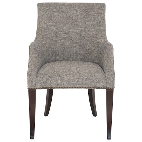 Bernhardt Keeley Upholstered Dining Arm Chair With Nail Head Trim