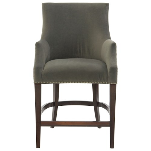 Bernhardt Keeley Upholstered Counter Bar Stool With Nail Head Trim