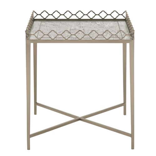 Bernhardt Marquesa Glass Top End Table with Decorative Gallery Rail