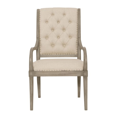 Bernhardt Marquesa Customizable Arm Chair with Button-Tufted Back