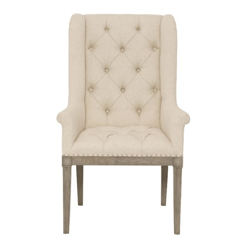 Bernhardt Marquesa Customizable Host Dining Chair with Rolled Arms