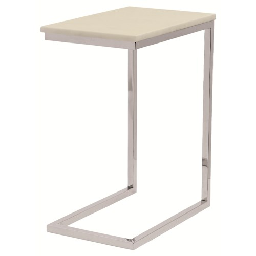 Bernhardt Marston  Ivory Marble Pull-Up Table with Stainless Steel Legs