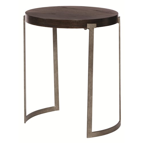 Bernhardt Mercer  Round End Table with Metal legs and Wood Top