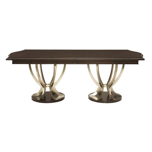 Bernhardt Miramont Dining Table with Plated Solid Steel Pedestals
