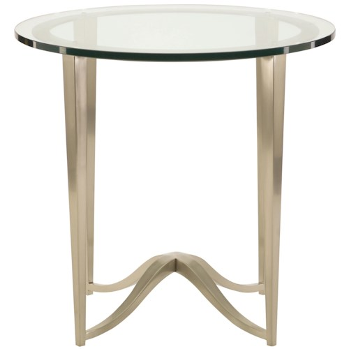Bernhardt Miramont Round Chairside Table with Glass Top