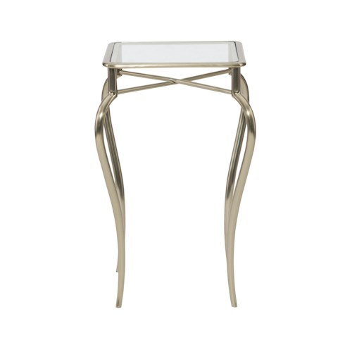 Bernhardt Miramont Metal Drink Table with Glass Top