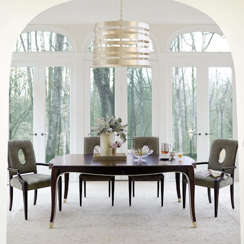Bernhardt Miramont 5 Piece Dining Table in Dark Sable Finish and Upholstered Chair Set