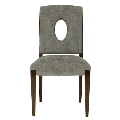 Bernhardt Miramont Upholstered Dining Side Chair with Open Wood-Framed Oval Shape in Chair Back