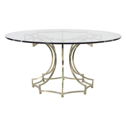 Bernhardt Miramont Round Dining Table with Clear Glass Table Top