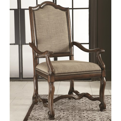 Bernhardt Montebella Upholstered Arm Chair with Nailhead Trim