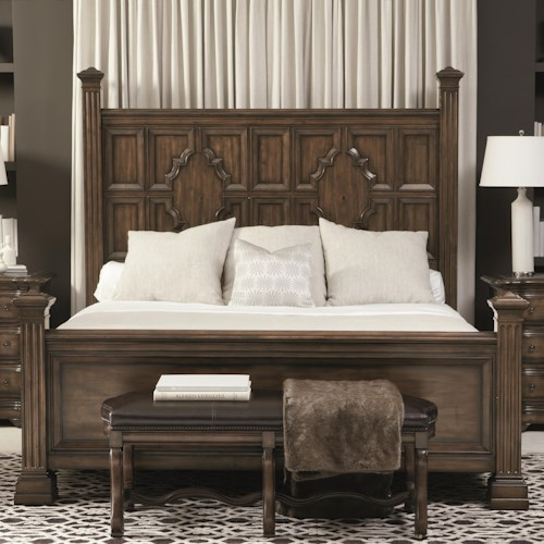 Bernhardt Montebella King Panel Bed with Sculpted Moldings