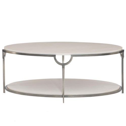 Bernhardt Morello Oval Cocktail Table with Faux Marble Top