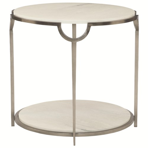 Bernhardt Morello Round End Table with Faux Marble Top