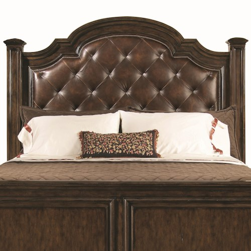 Bernhardt Normandie Manor Queen-Size Button-Tufted Leather Upholstered Headboard with Nailhead Trim