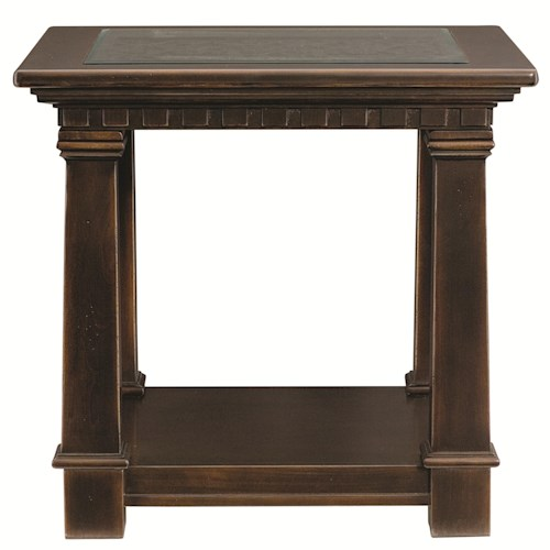 Bernhardt Pacific Canyon Square End Table with Tempered Glass Top