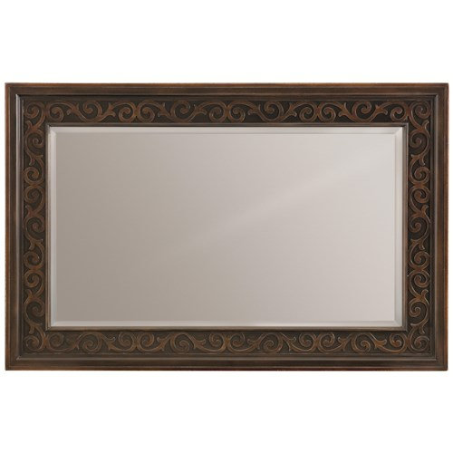 Bernhardt Pacific Canyon Rectangular Mirror with Laser-cut Wood Overlays