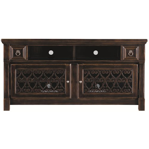 Bernhardt Pacific Canyon Entertainment Console with Inset Laser-cut Wood Grille