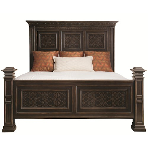 Bernhardt Pacific Canyon King Panel Bed with Decorative Carved Panels