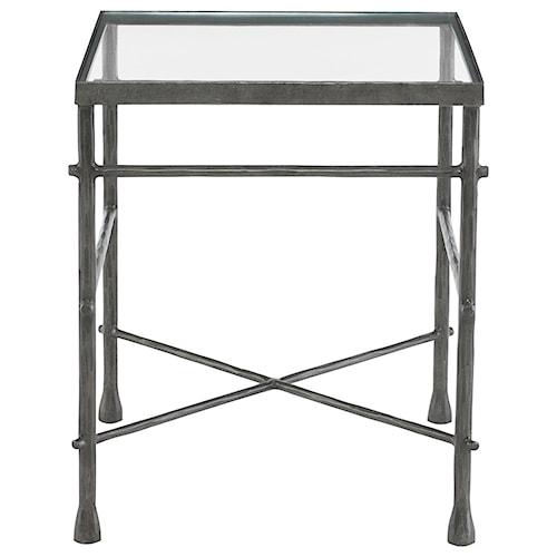 Bernhardt Pollard Rectangular End Table with Glass Top and Metal Base