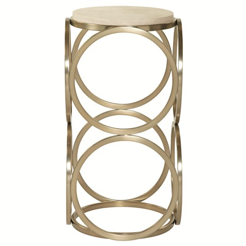 Bernhardt Salon Accent Table with Geometric Metal Base