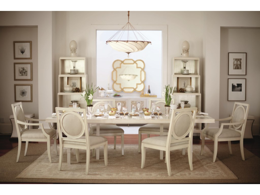 Shown with Side Chairs, Arm Chairs, Rectangular Dining Table and Shaped Mirror
