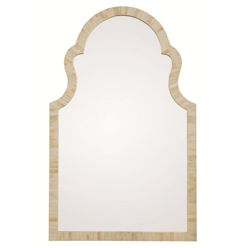 Bernhardt Salon Vertical Mirrow with Arched Top and Inlaid Bone-Covered Frame