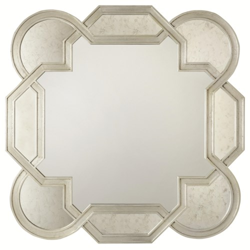 Bernhardt Salon Mirror with Decorative Shaped Frame and Insets of Antiqued Mirror Glass