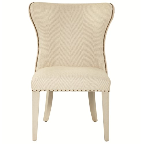 Bernhardt Siberia Upholstered Wing Dining Chair with Spaced Nailhead Trim