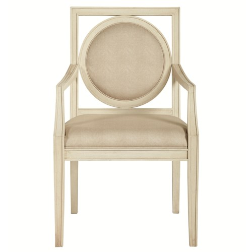 Bernhardt Siberia Dining Arm Chair with Circular Wood-Framed Back