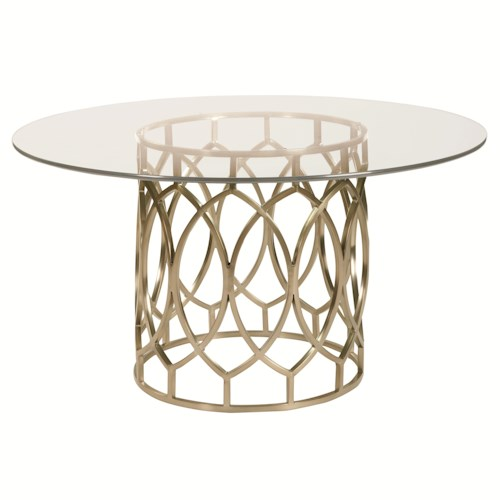 Bernhardt Siberia Dining Table with Glass Top and Geometric Metal Base