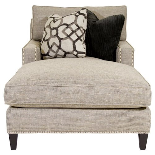 Bernhardt Signature Seating Chaise with Track Arms and Nail Head Trim