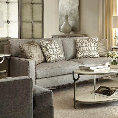 Bernhardt Signature Seating Custom 2 Seat Sofa with Track Arms and Nail Heads