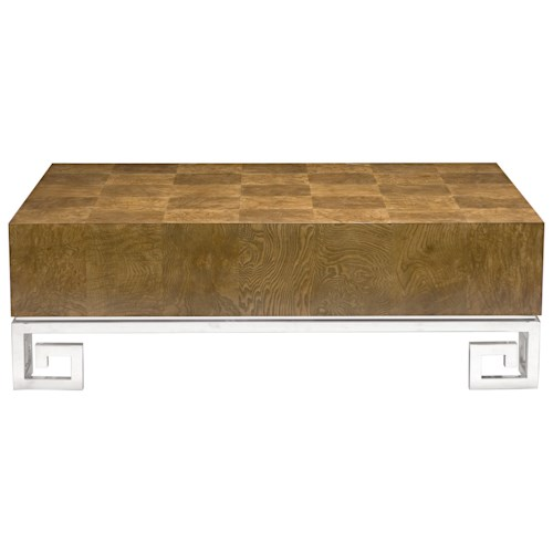 Bernhardt Soho Luxe Contemporary Cocktail Table with Greek Key Design
