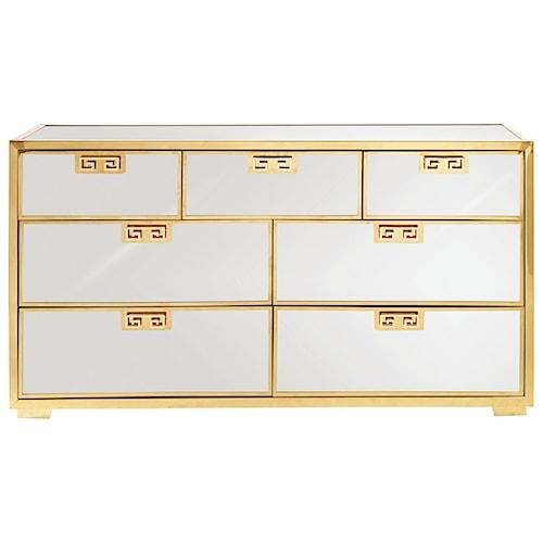 Bernhardt Soho Luxe Contemporary 7-Drawer Mirror Dresser with Greek Key Design Pulls
