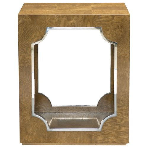 Bernhardt Soho Luxe Contemporary End Table with Stainless Steel Inlay