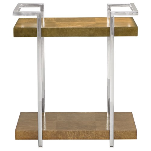 Bernhardt Soho Luxe Contemporary End Table with Stainless Steel Gellery