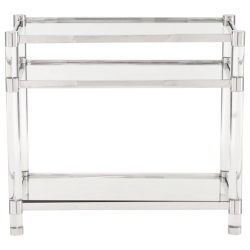 Bernhardt Soho Luxe Contemporary Accent Table with Glass Shelves and Acrylic Legs