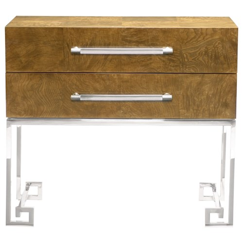 Bernhardt Soho Luxe Contemporary 2-Drawer Nightstand with Greek Key Design
