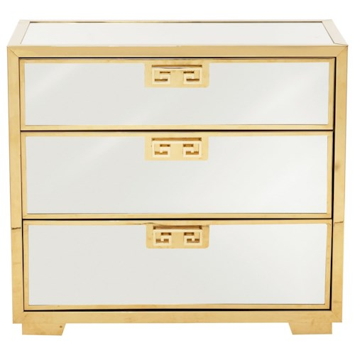 Bernhardt Soho Luxe Contemporary 3-Drawer Mirror Nightstand with Greek Key Design