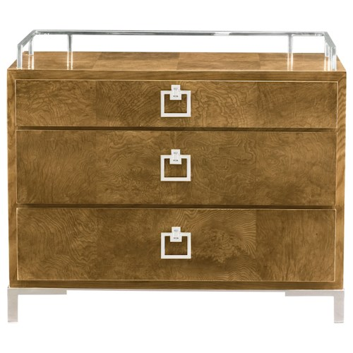 Bernhardt Soho Luxe Contemporary Bachelor's Chest with Stainless Steel Gallery Rail
