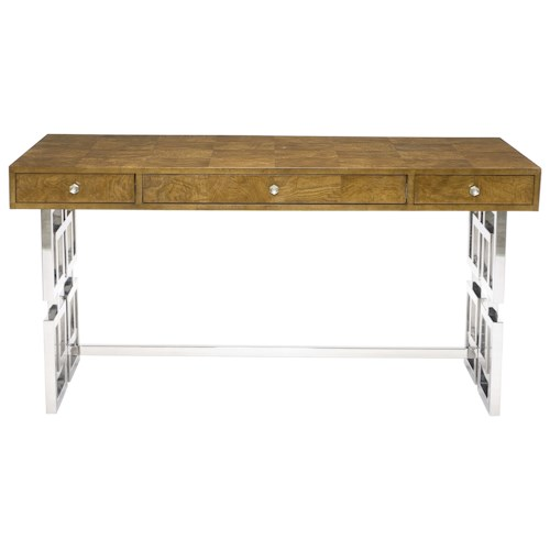 Bernhardt Soho Luxe Modern 3-Drawer Desk with Greek Key Design