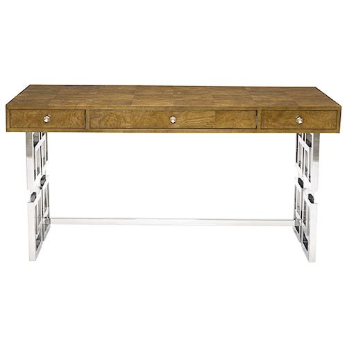 Bernhardt Soho Luxe Modern 3-Drawer Desk with Greek Key Design