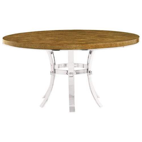 Bernhardt Soho Luxe Contemporary Round Dining Table with Metal Base