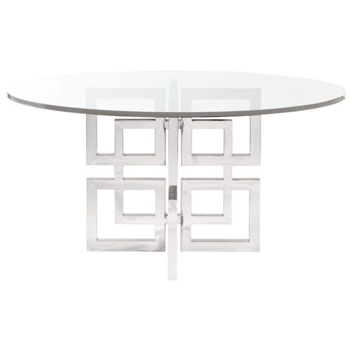 Bernhardt Soho Luxe Contemporary Dining Table with Glass Table Top
